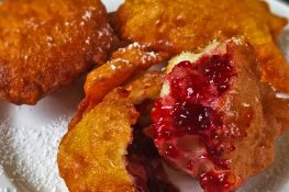 Donuts with jam and chocolate