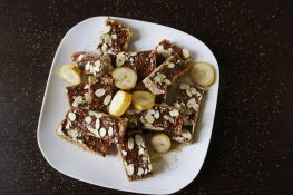 Healthy oat bars with bananas