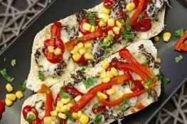 Ciabatta baked with mushrooms and cheese