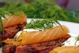 Beetroot and potato cakes with salmon