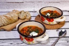 Green lentil soup with sausage