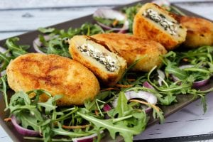 Stuffed with spinach and cheese potato croquettes