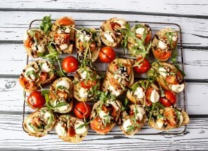 Italian bruschetta with cherry tomatoes and balsamic vinegar