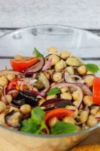 Salad from chickpea and eggplant