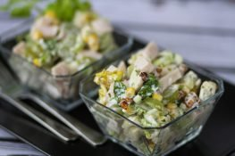Waldorf salad with lettuce and ham