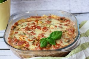 Zucchini and tomato bake with Emmental cheese
