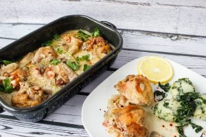 Chicken drumstick in creamy sauce