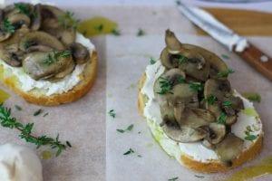 Mushroom and ricotta bruschetta