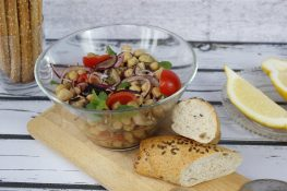 Eggplant, tomato and chickpea salad
