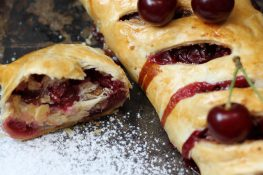 Cherry roulade on puff pastry