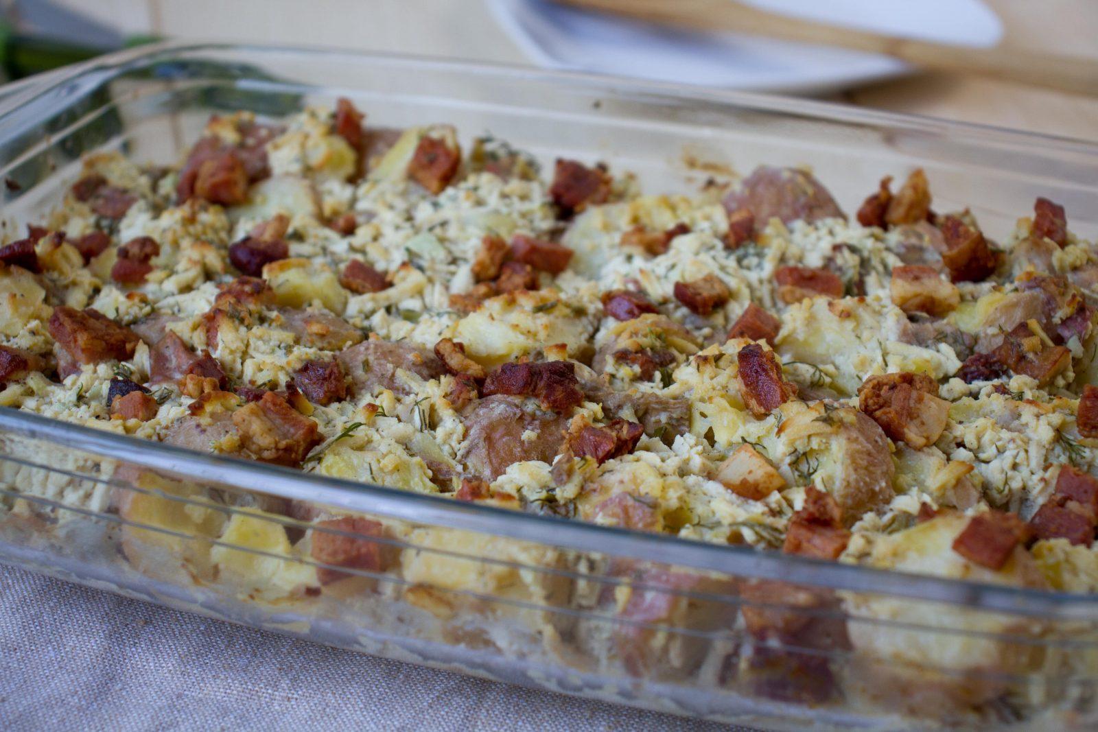 Potatoes and bacon casserole