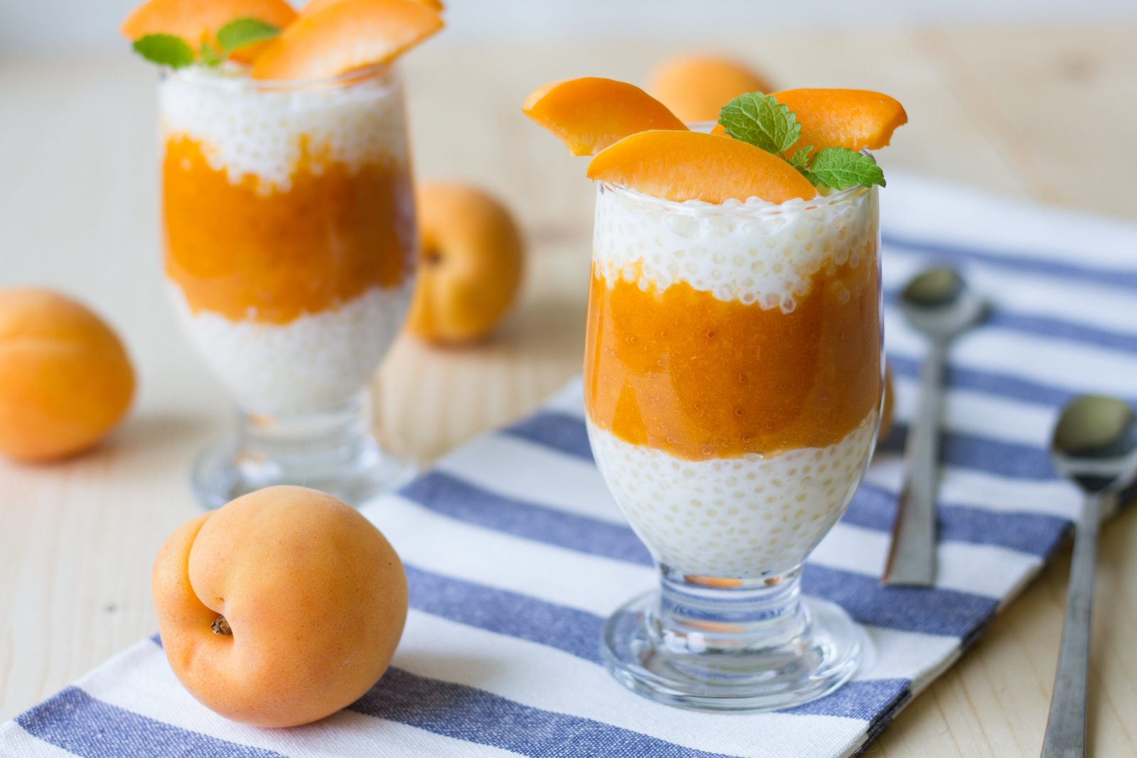 Apricot and tapioca in a cup