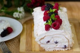 Meringue roulade with whipped cream