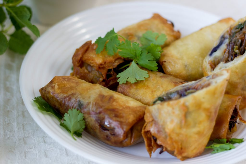 Homemade spring rolls with vegetables
