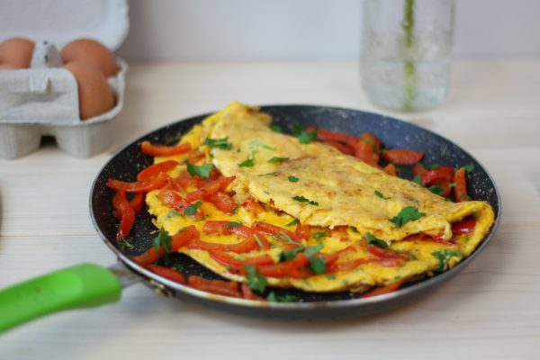 Omelette made from eggs and peppers