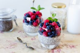 Chia and fruits dessert