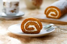 Pumpkin roll filled with cream cheese