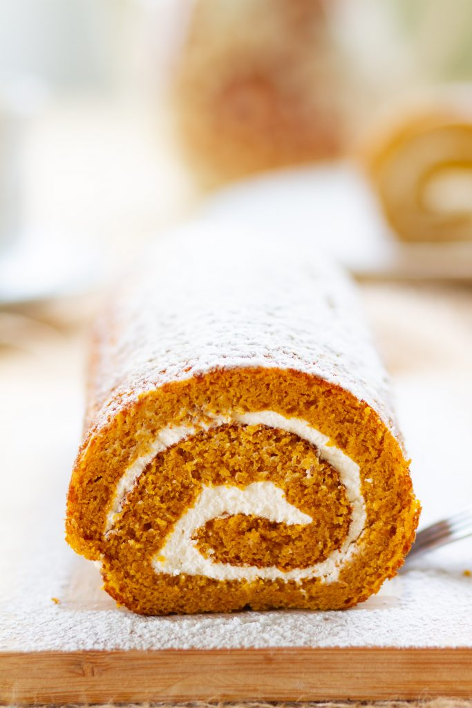 Pumpkin and cream cheese roll