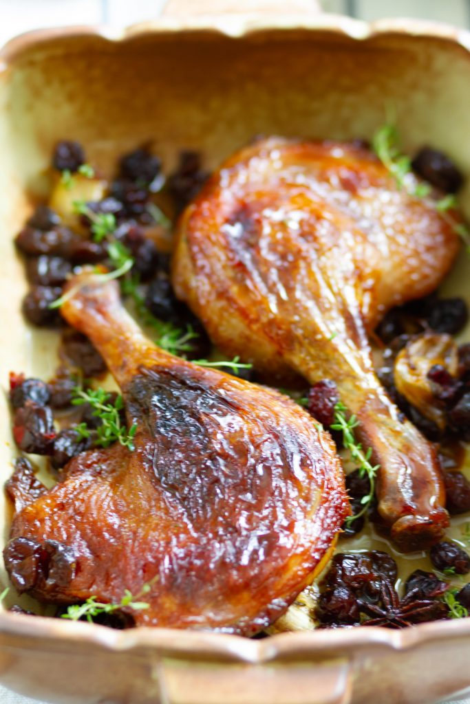 Roasted duck legs with cranberries