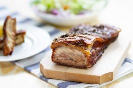 Pork belly slowly roasted