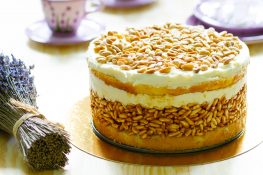 White lion cake with puffed rice