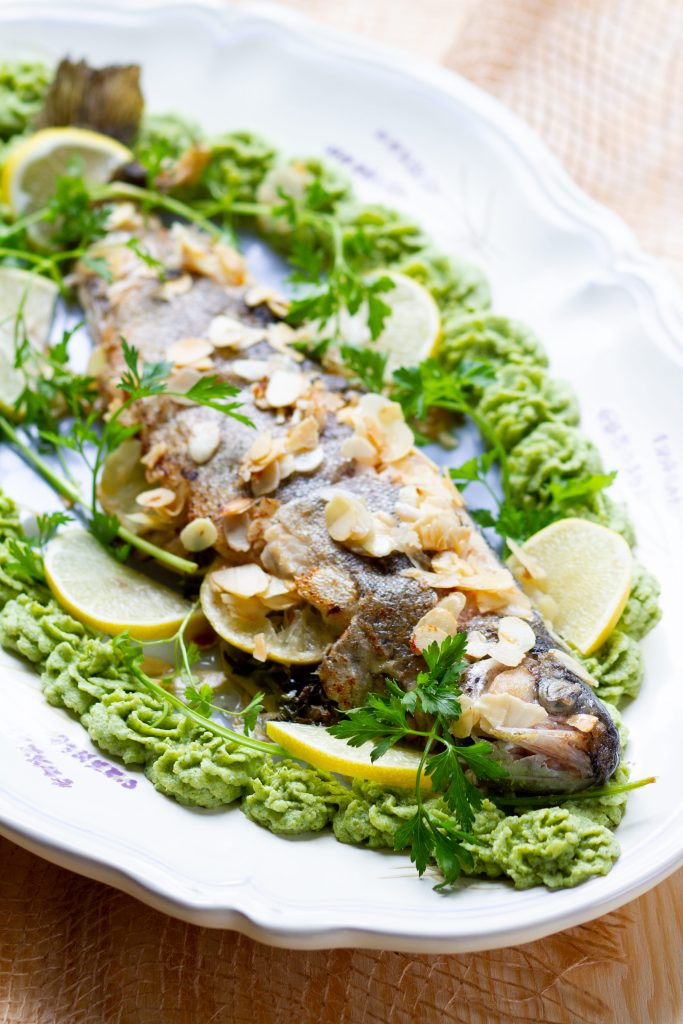 Pan-fried trout with almond flakes