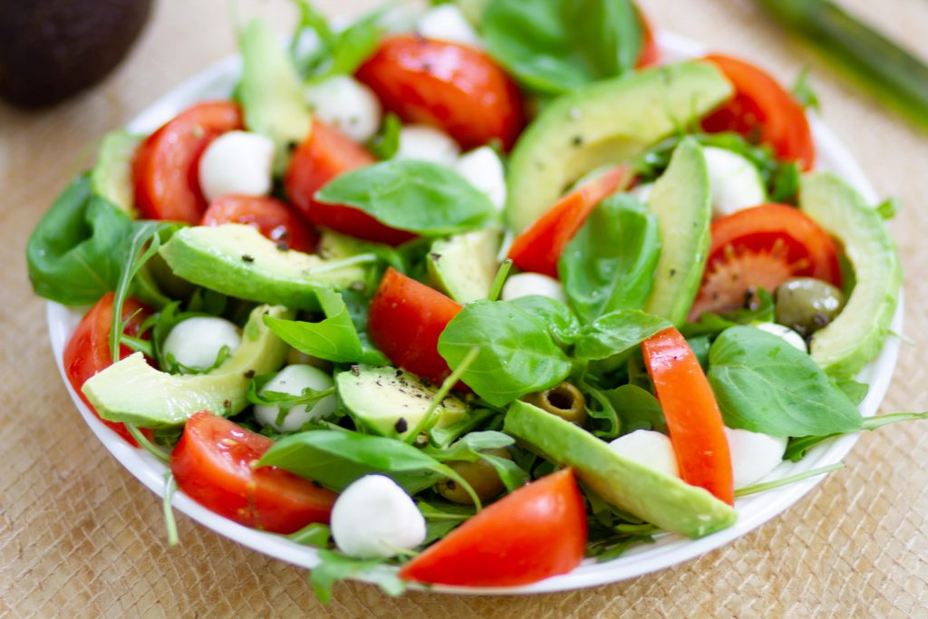 Fresh tomato and avocado salad