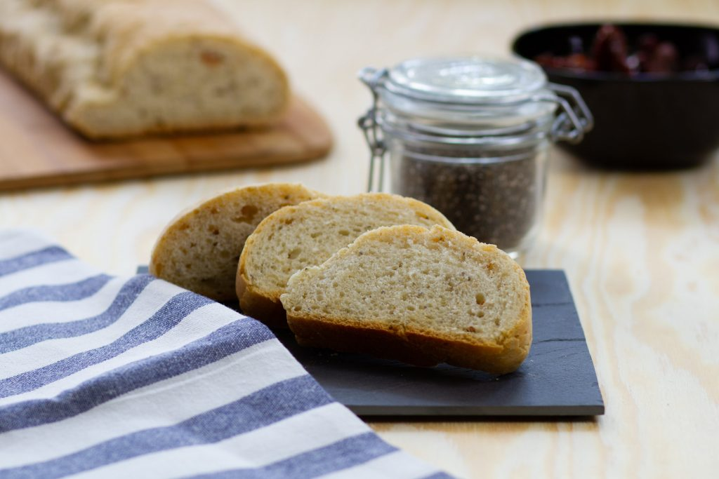 Chia seeds and sun-dried tomatoes bread