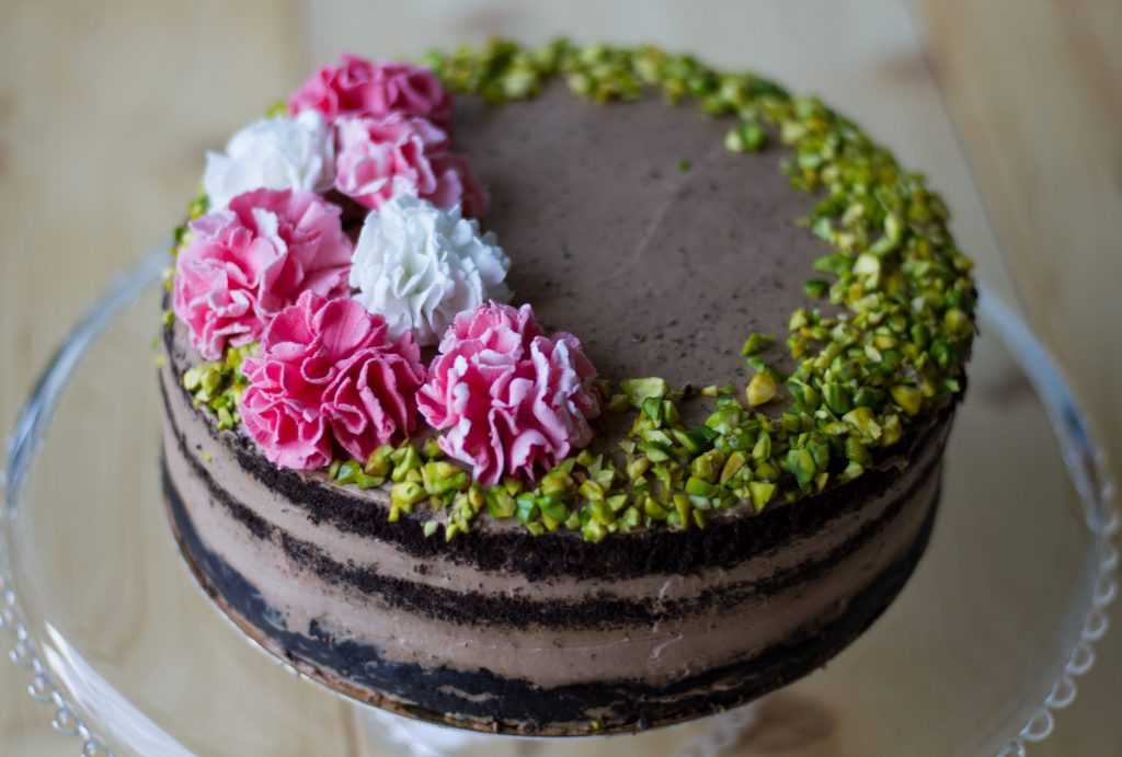 Gluten-free chocolate cake with pistachios