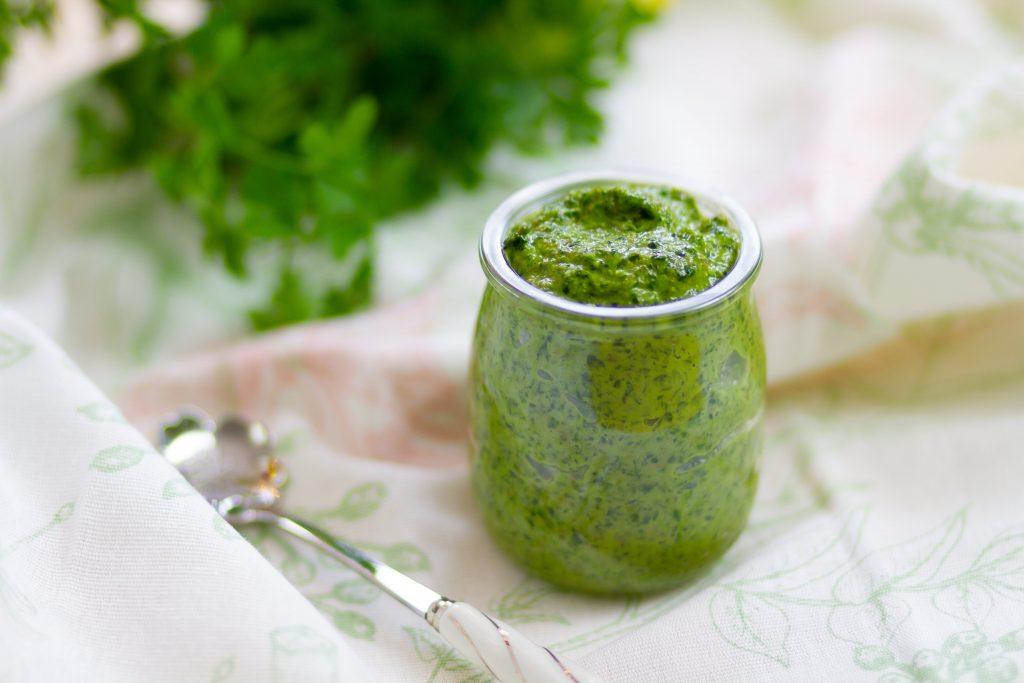Salsa verde made from fresh herbs