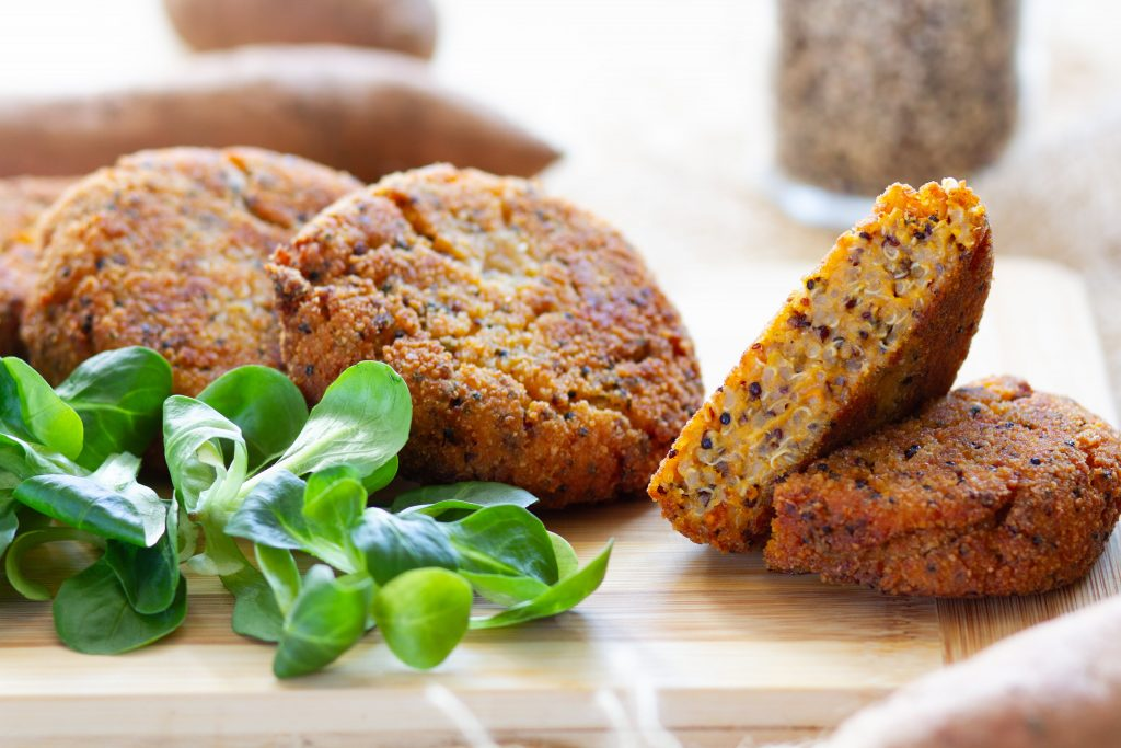 Cakes made from sweet potatoes and quinoa