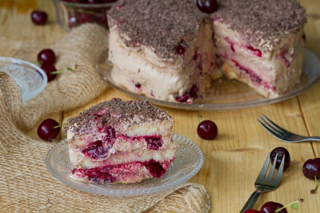 Fudge cake with cherries