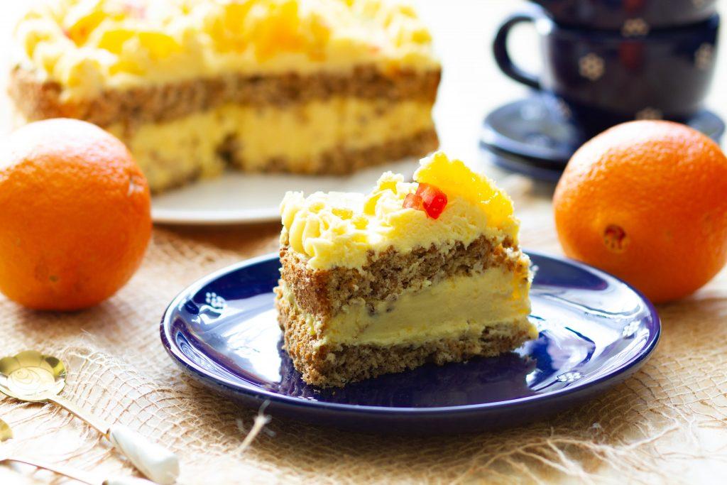 Cake with orange cream