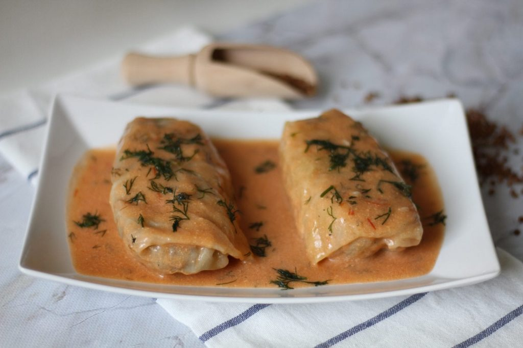 Cabbage rolls stuffed with groats and meat