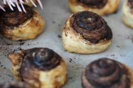 Puff pastry filled with chocolate