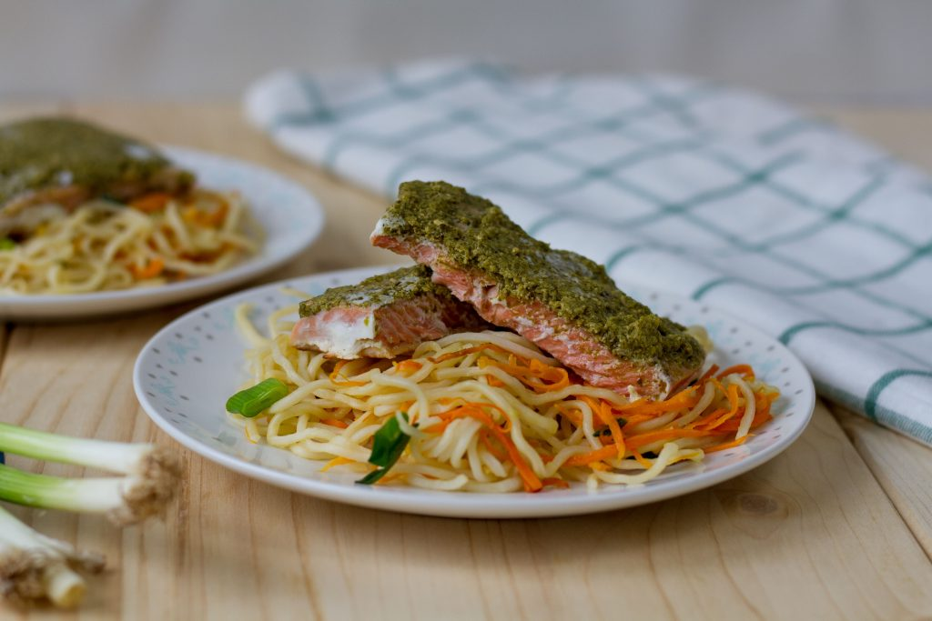 Poached salmon with noodles