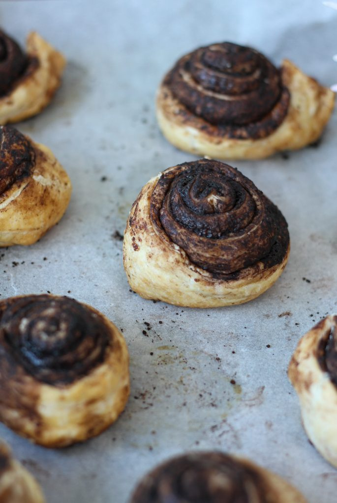 Chocolate puff pastry snails