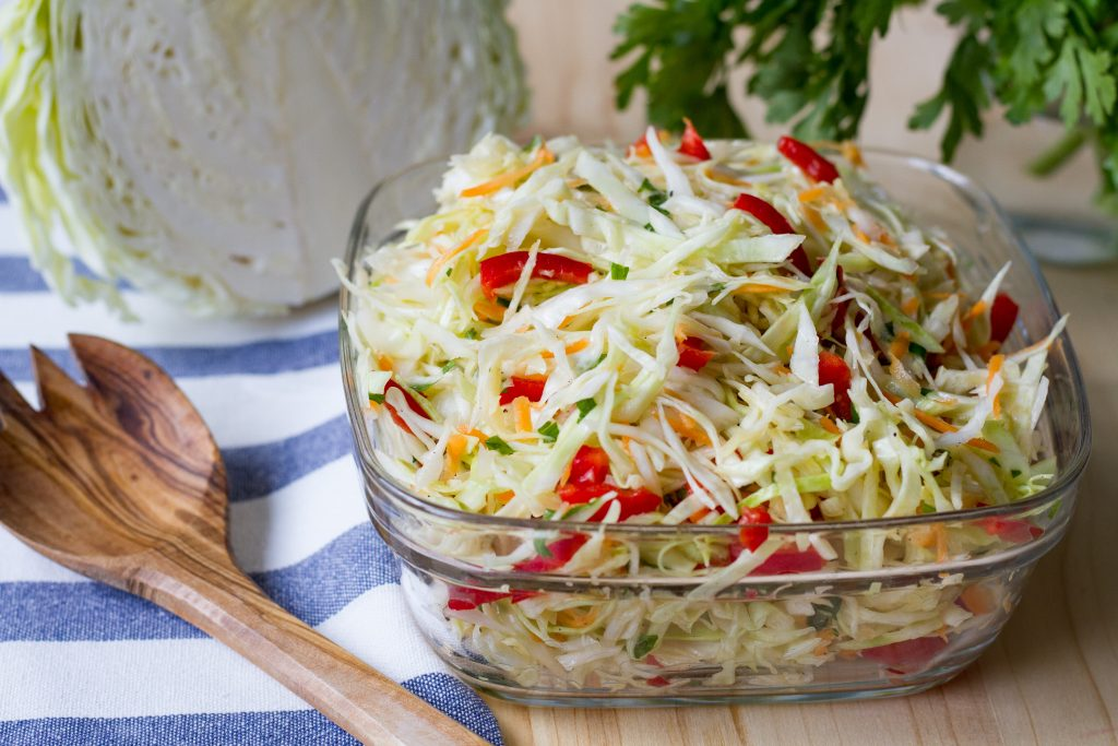 Salad from cabbage, carrot and peppers