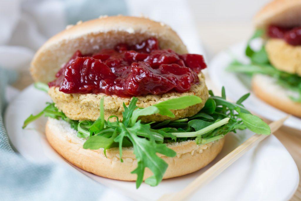Burger with plum sauce