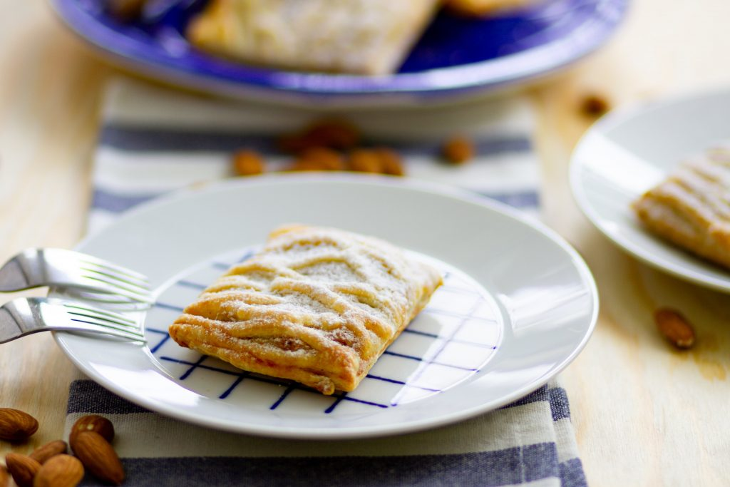 Puff pastry filled with almond cream