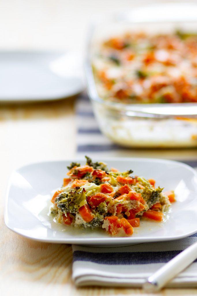 Casserole with broccoli and sweet potato