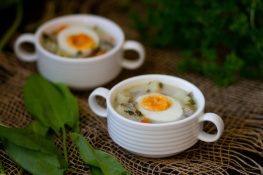 Sorrel soup served with eggs