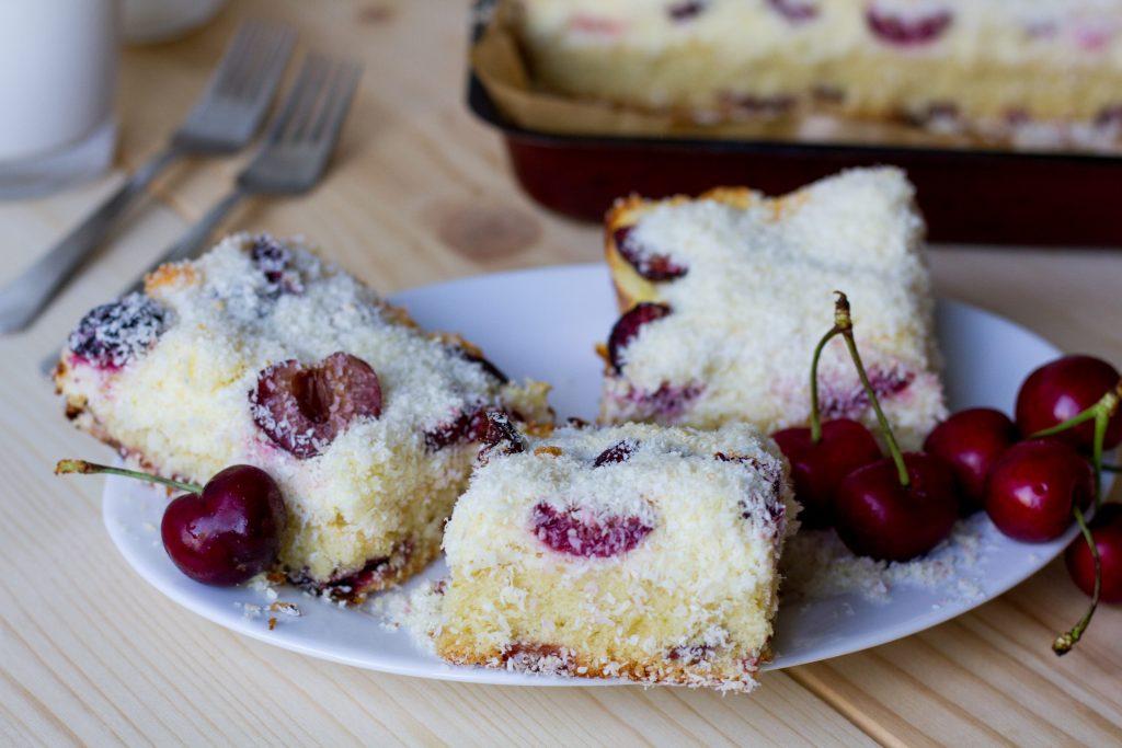 Cherries and coconut bundt cake