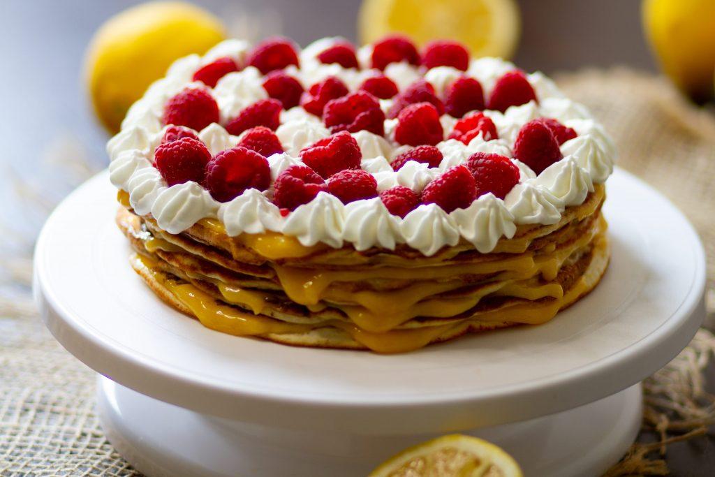 Pancake cake with lemon curd and fruits