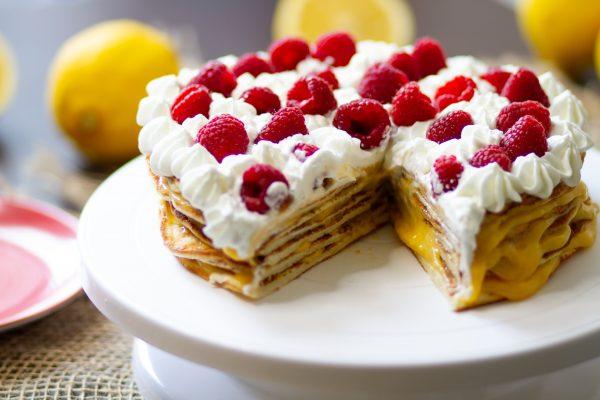 Pancake cake with fruits and lemon curd