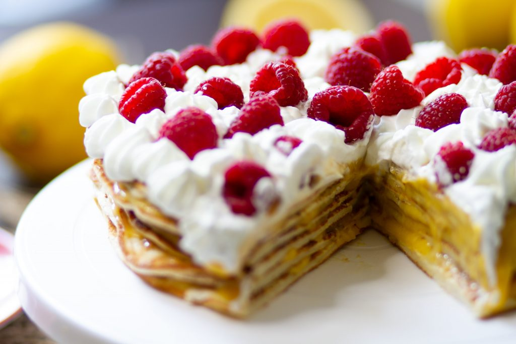 Pancake cake with lemon curd