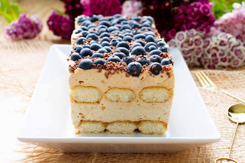 Blueberry cake with ladyfinger biscuits