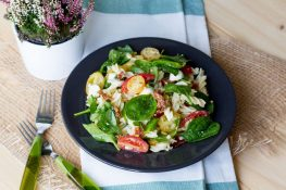 Tomato, spinach and pasta salad
