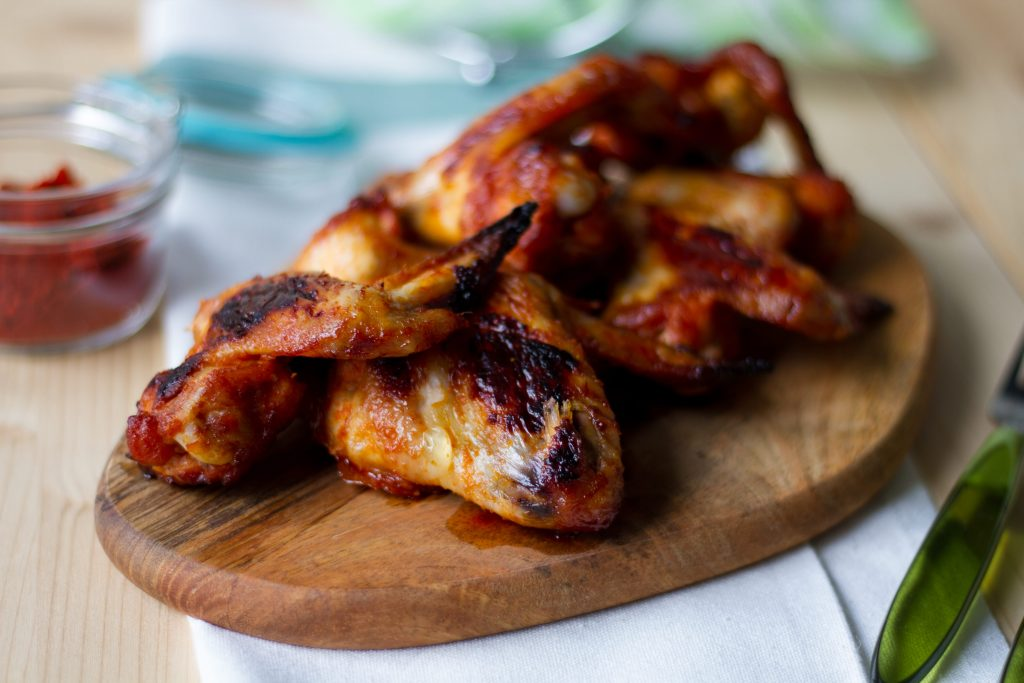 Chicken wings baked in an oven