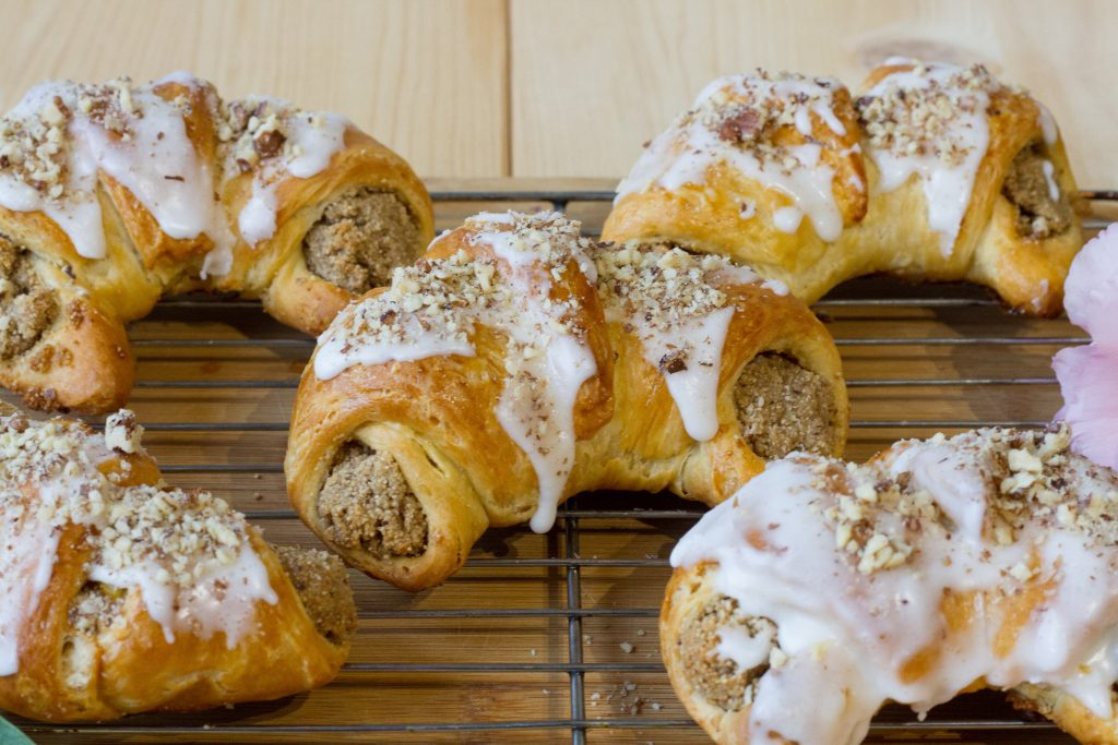 Croissants with white poppy seeds